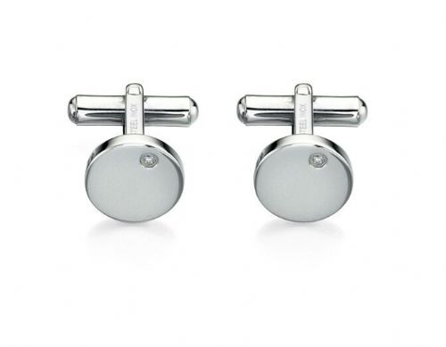 Fred Bennett Stainless Steel With Clear Stone Cufflinks